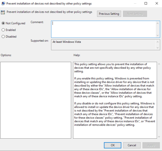 Prevent Installation of device not described by other policy settings