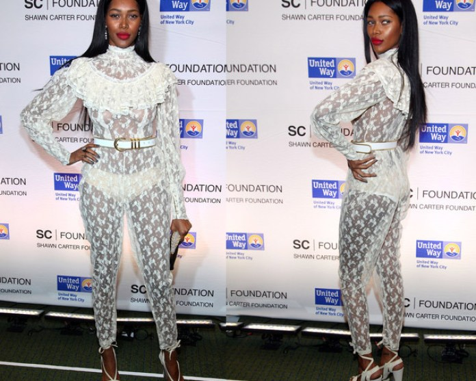 Model Jessica White's see Through Jumpsuit