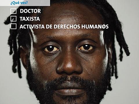 Campaña de la ONU en redes contra el racismo. El cartel juega con los estereotipos.