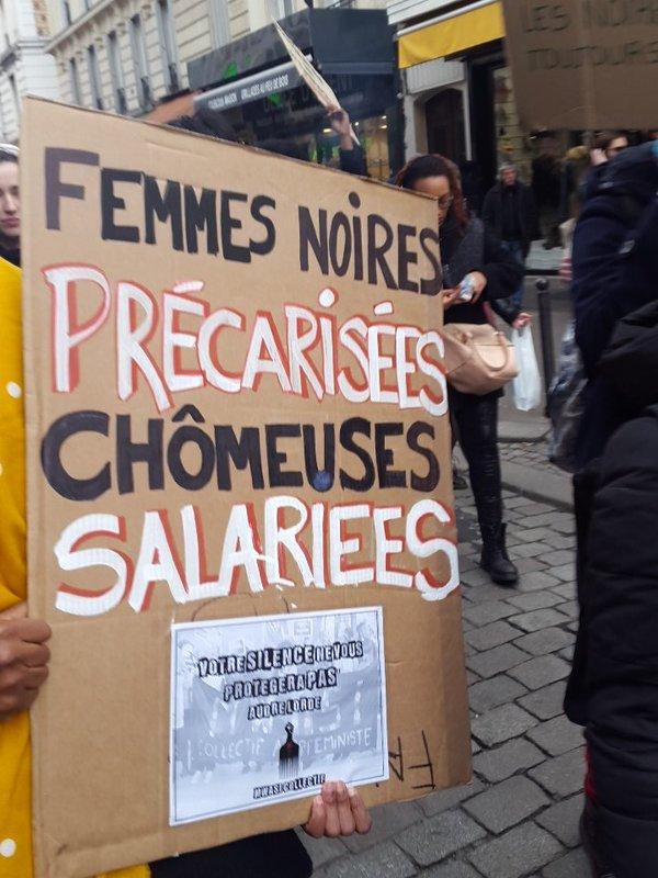 Feministas negras francesas en una manifestación el 6 de marzo del 2016