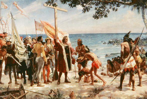 Representación de la llegada de Cristóbal Colón a las islas caribeñas en 1494, fijaos en la aura divina y de autoridad con que retrataron a Colón, además, todos los europeos están de pie, mientras la postura corporal de los indios es de sumisión y servilismo, uno, incluso, está de rodillas