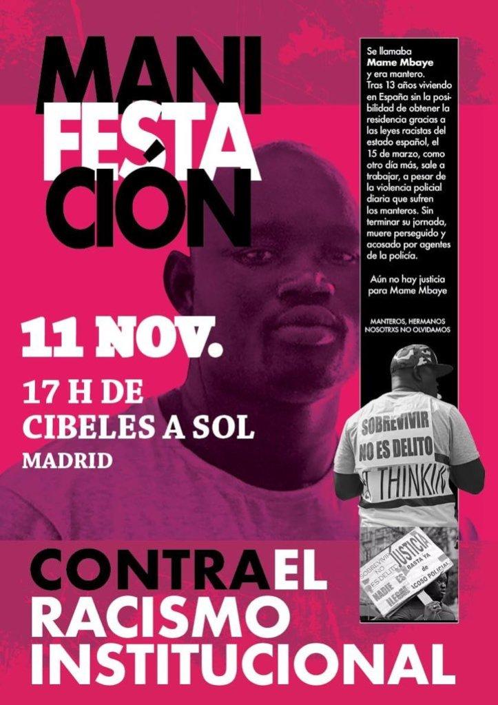 Afroféminas apoyael 11N, Manifestación contra el racismo institucional