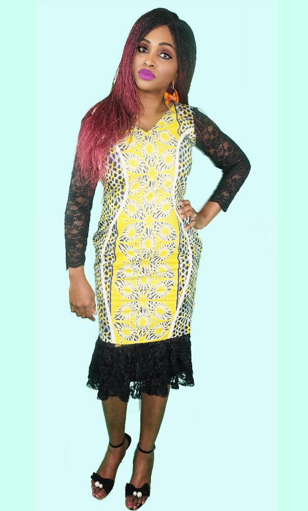 African wax and black lace combi dress
