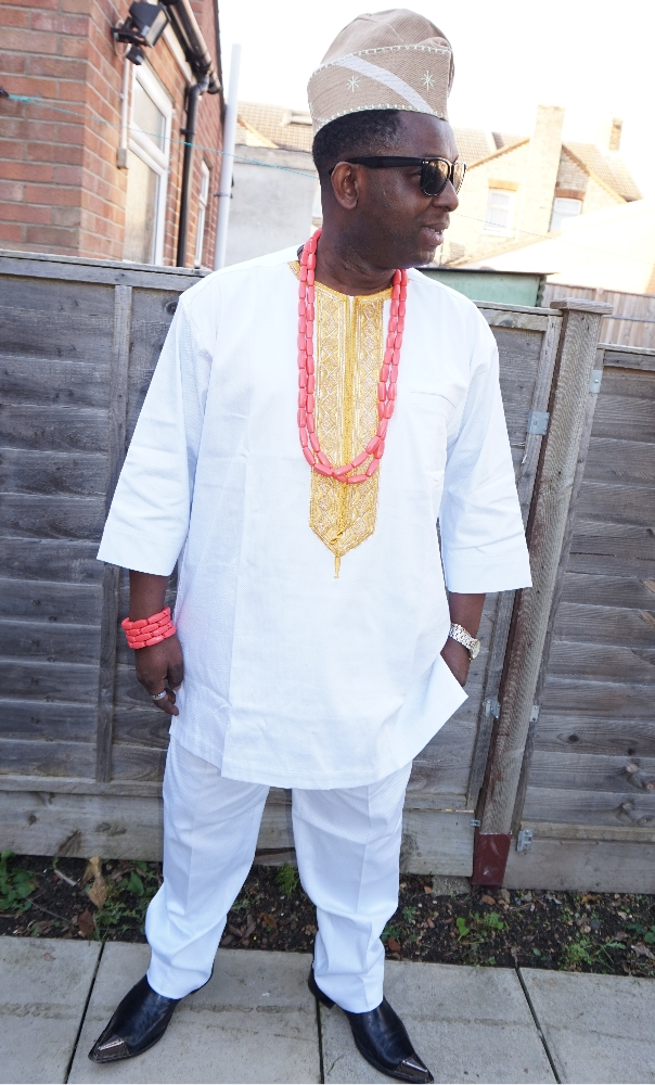 2 Piece white and gold embroidered men's African outfit