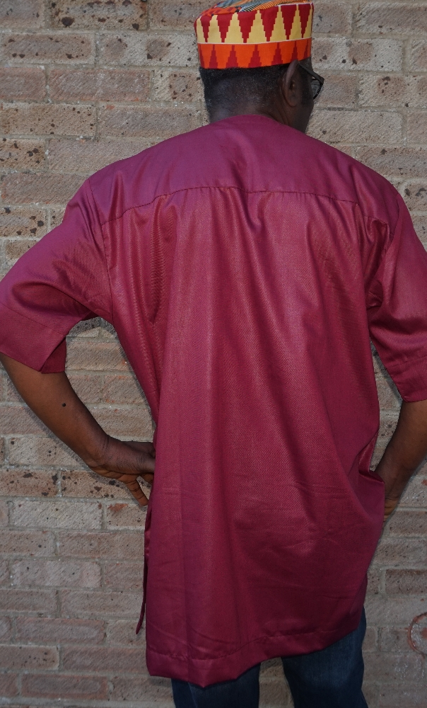 Maroon red and gold embroidered short sleeved shirt