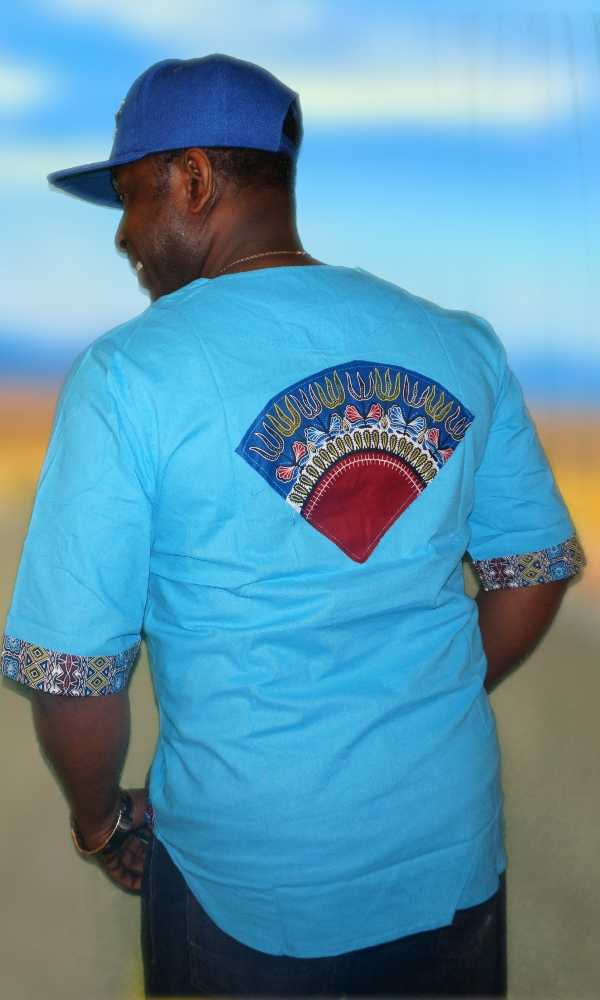 Plain turquoise dashiki trimmings shirt