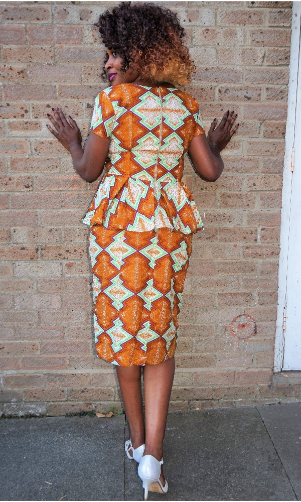 African print peplum top and pencil skirt