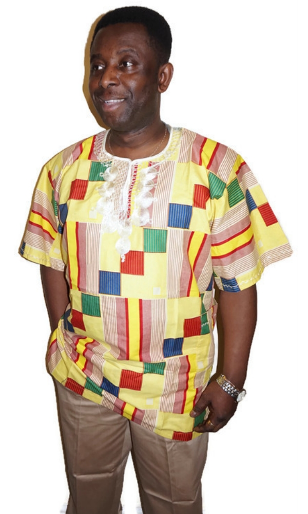Yellowy kente African print with embroidery shirt
