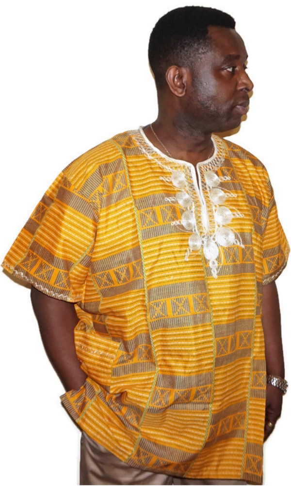 African print short sleeve embroidered shirt