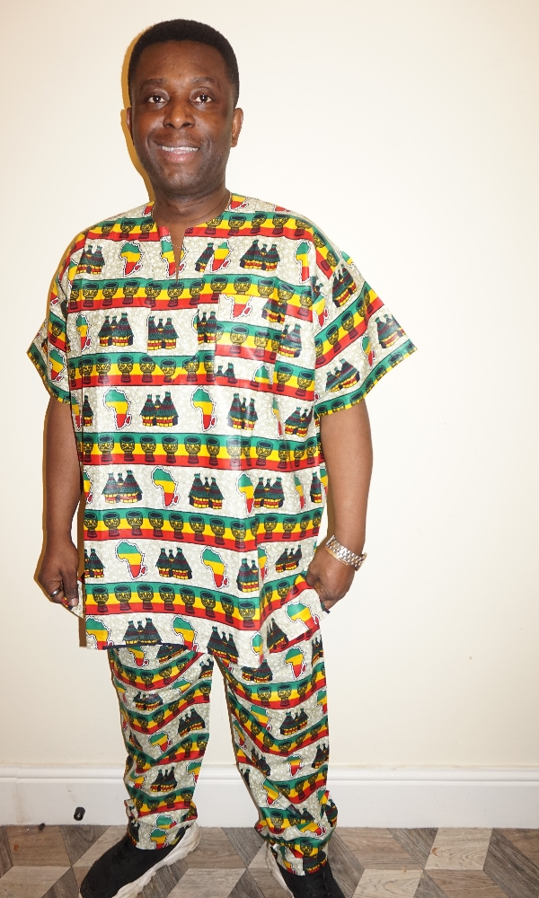 Mixed African print top and trouser set