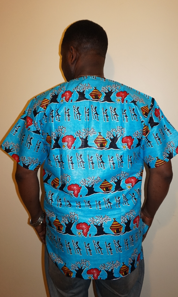 Blue African map and village scene shirt