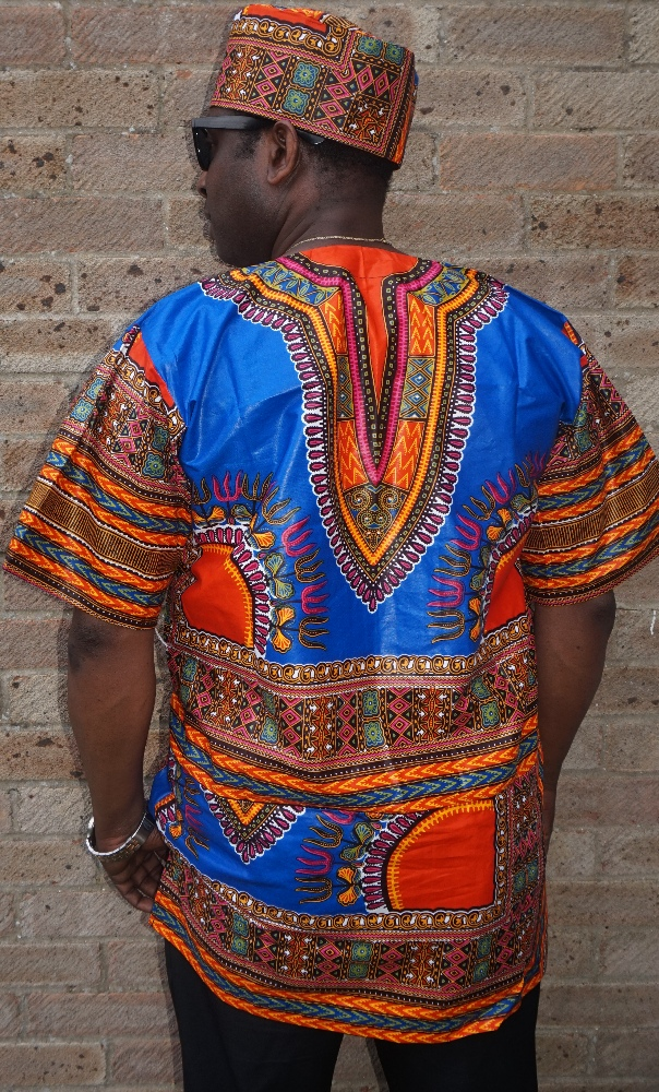 Quality blue dashiki print shirt
