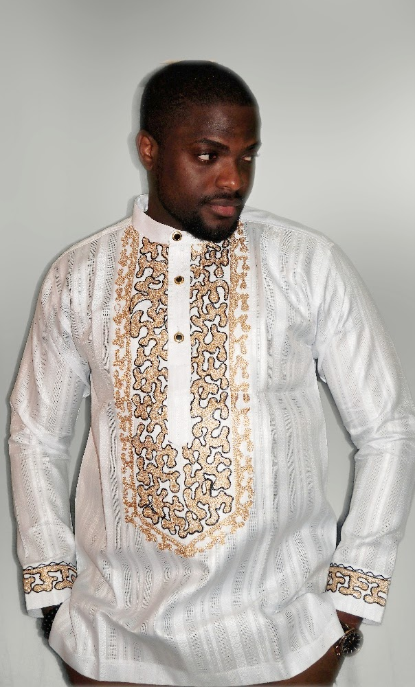White webbed gold embroidered long sleeved shirt