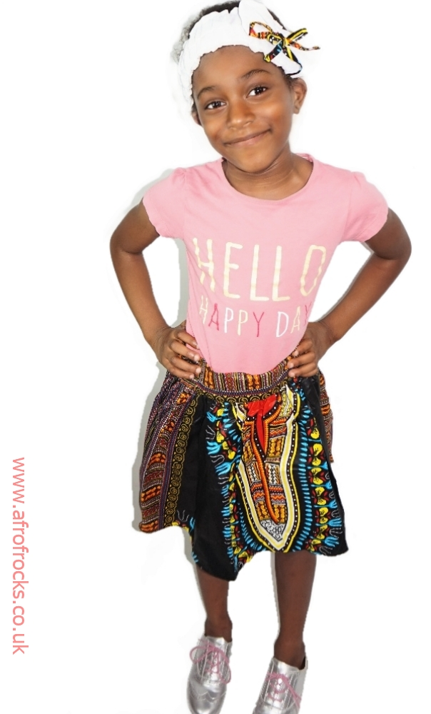 Girls black dashiki skirt and headband set