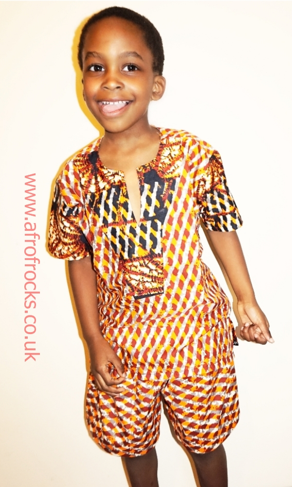Tiger spots African print shorts and top set