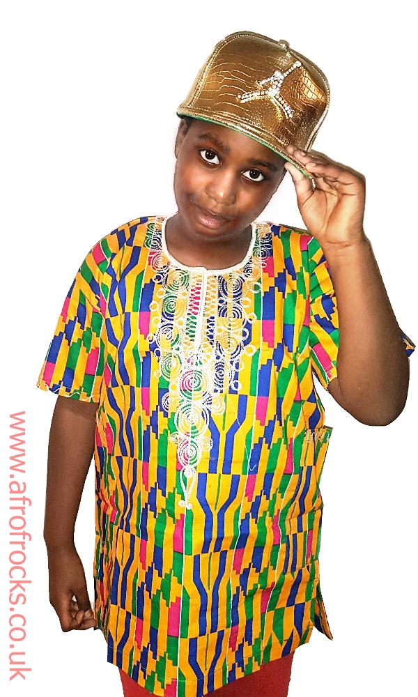 Boys kente print embroidered shirt