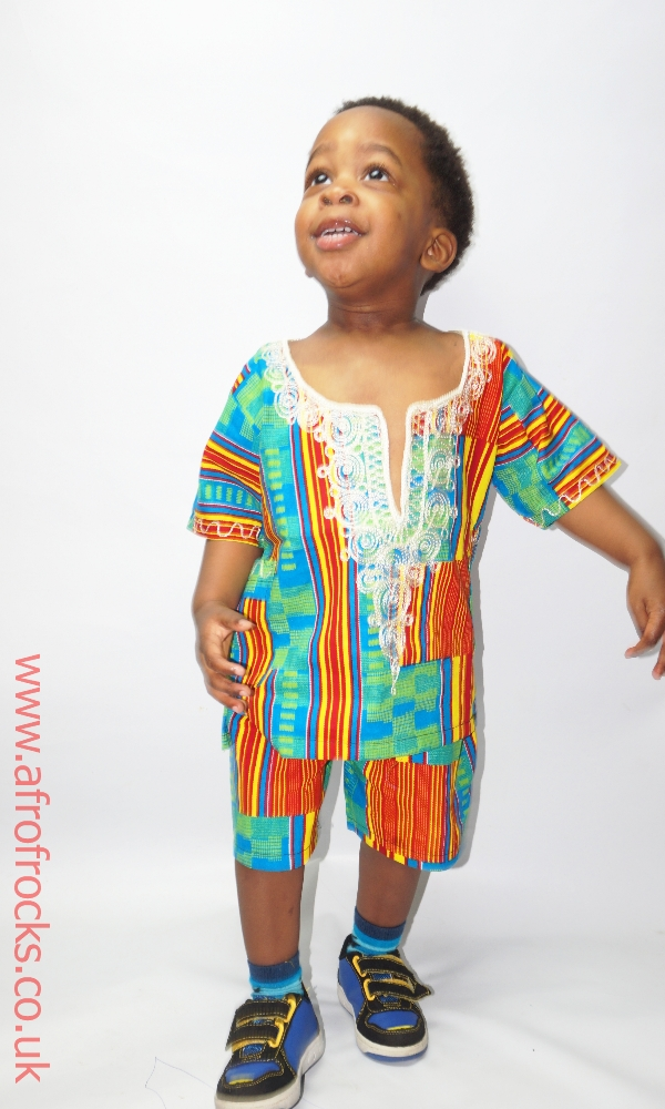 Greeny kente print shorts set