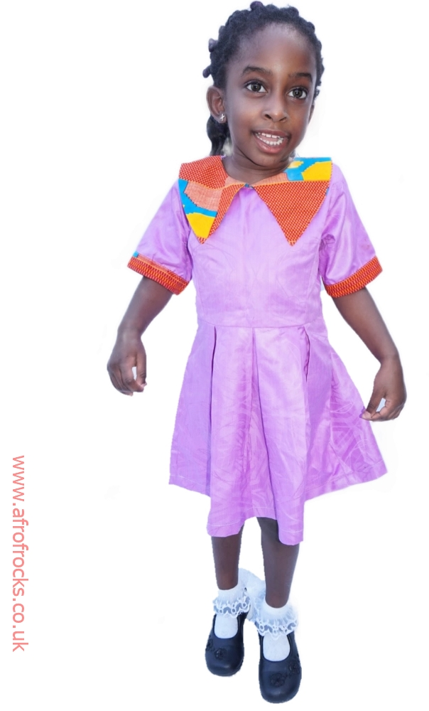 Purple and kente print combi dress for girls
