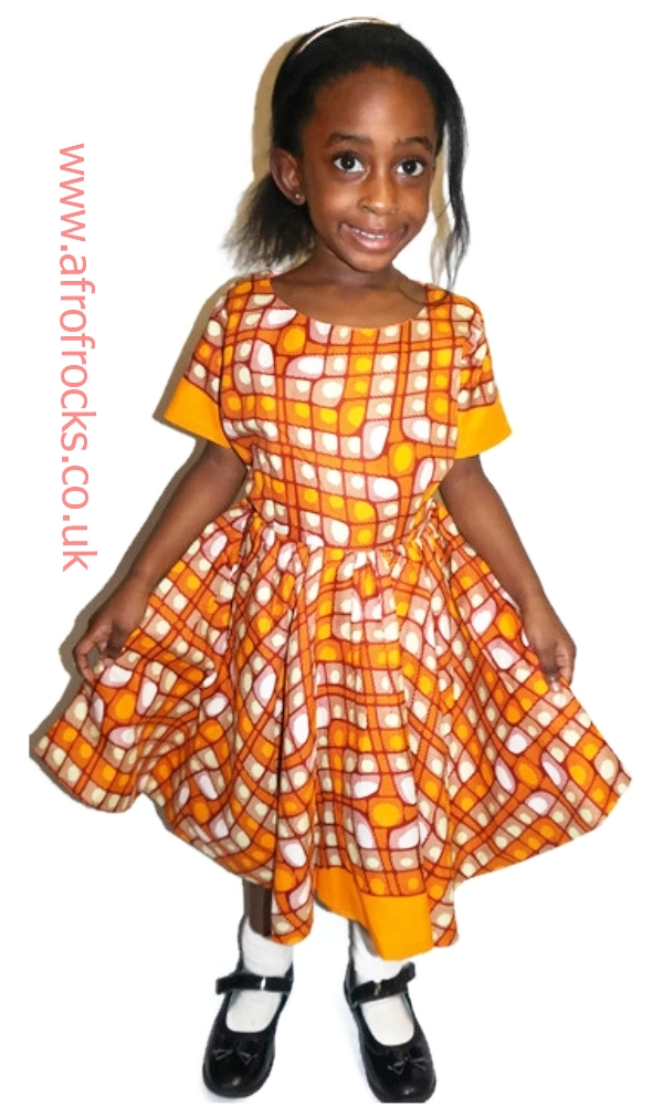 Mustard African print dress for girls