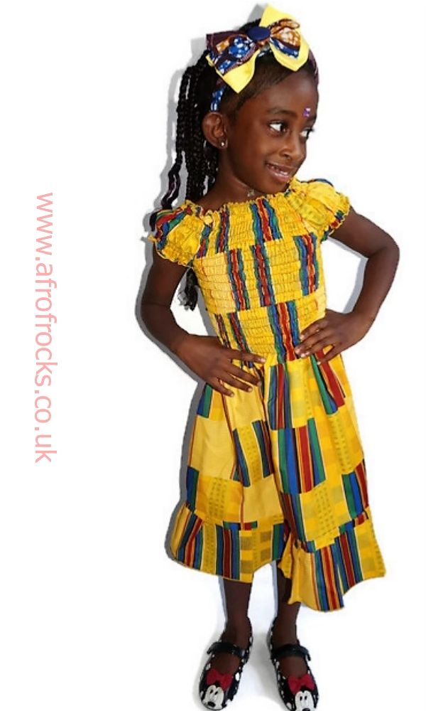 Yellow kente African print shirred dress