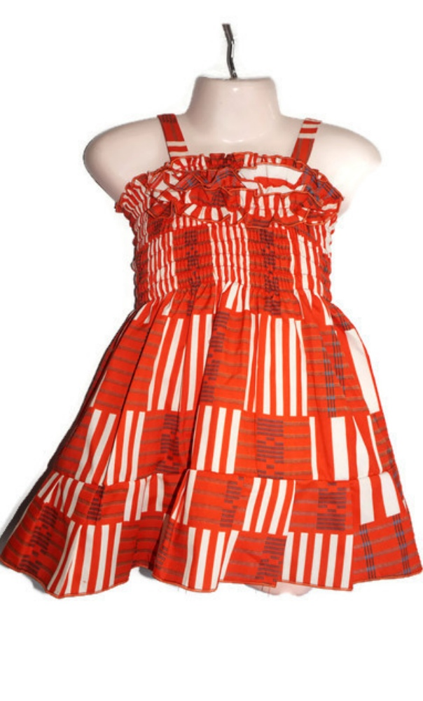 Baby African print shirred dress