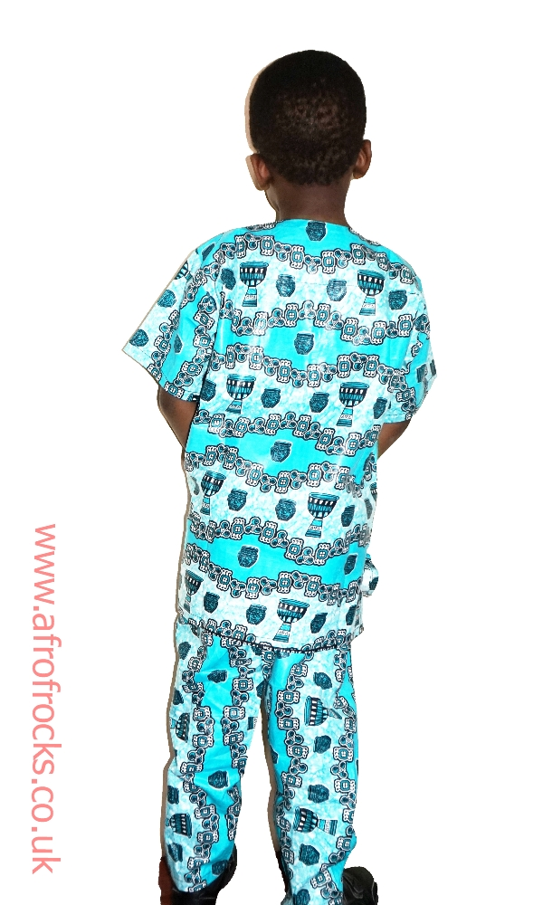 African drum print trouser and top set
