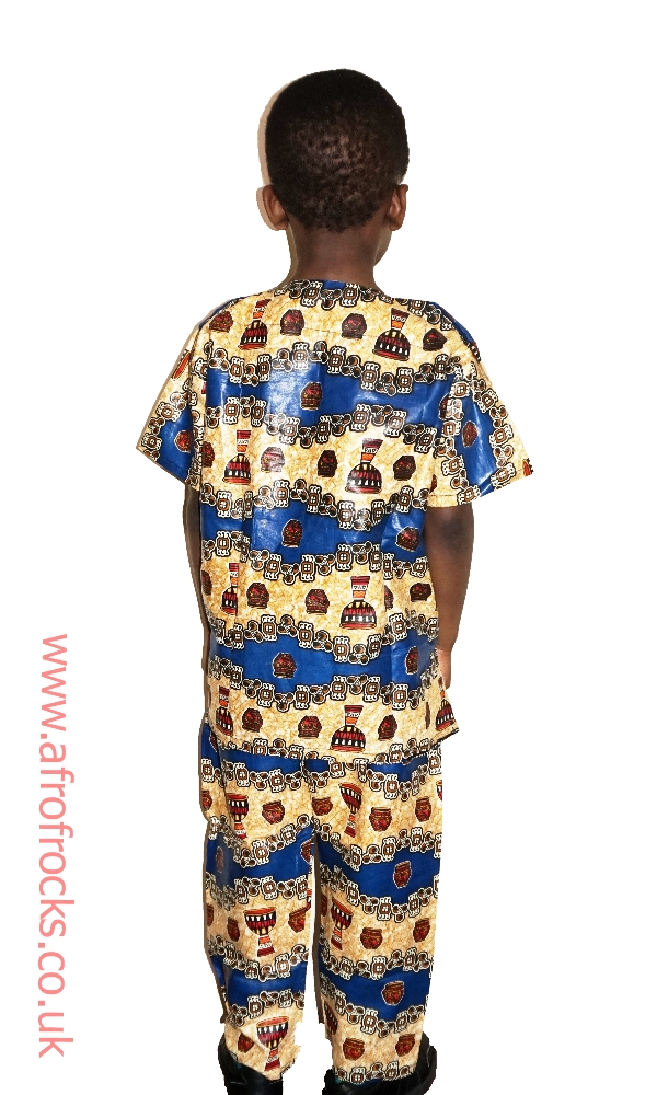 2 piece African drum print trouser and top set