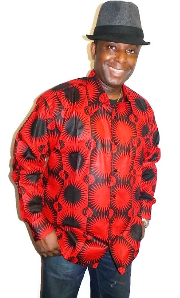 Red and black sun print long sleeved shirt