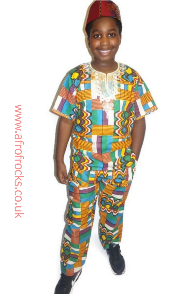 Modern kente print embroidered shirt