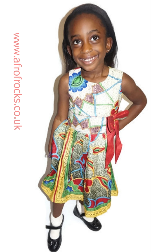 Girls bow African print dress