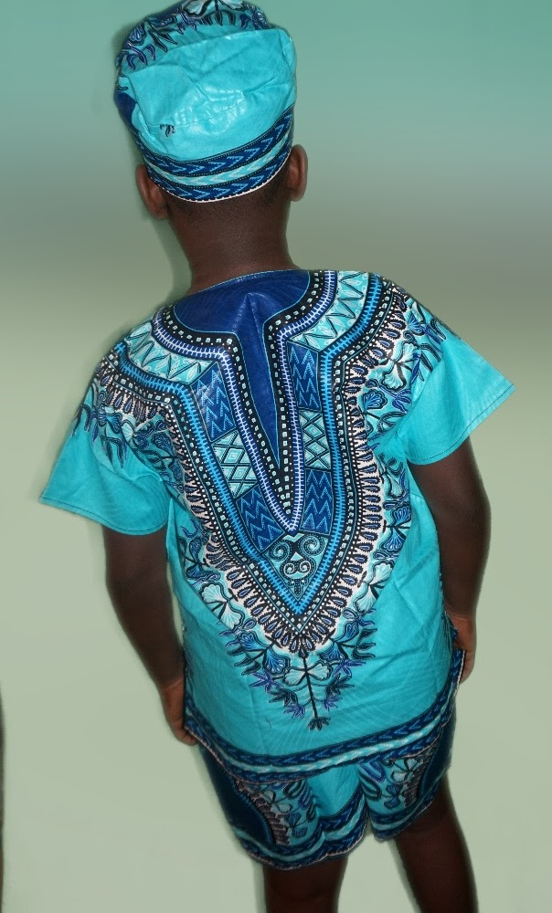 Turquoise dashiki print 3 piece set