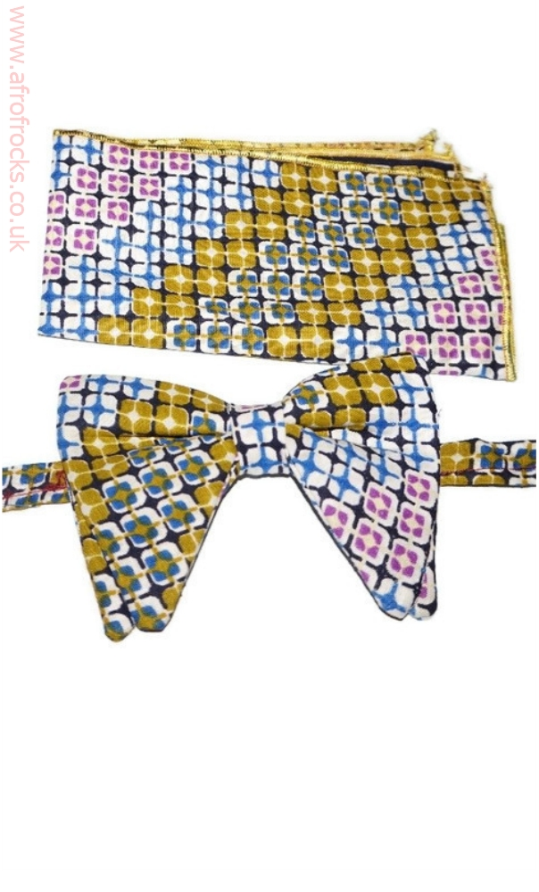 African print bow tie and handkerchief set