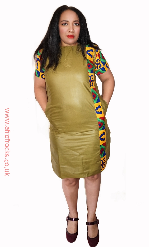 Navy green and kente combi dress