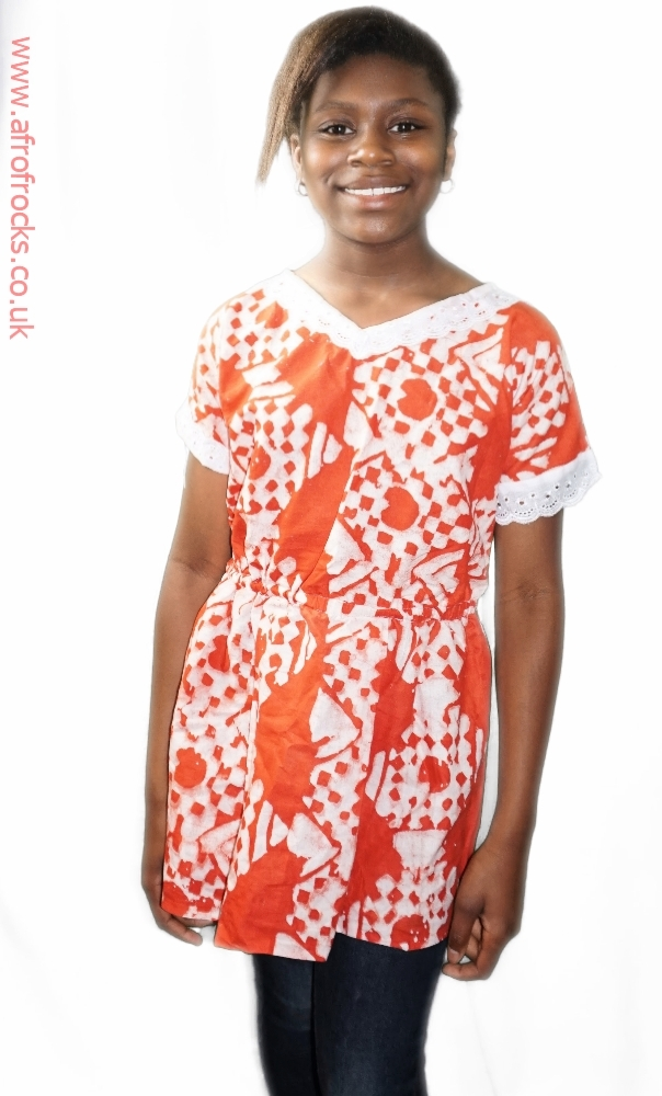 Orange and white batik top