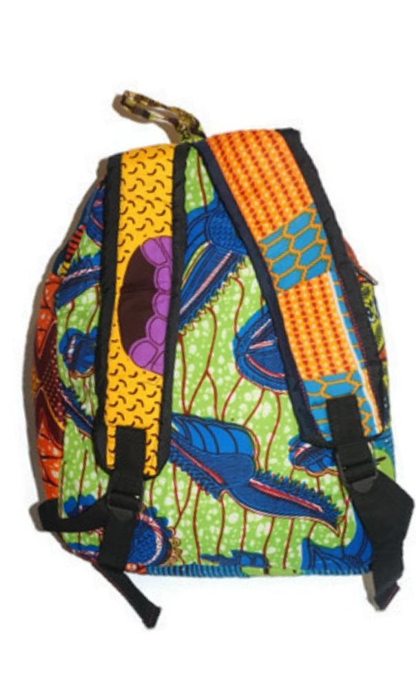 Multi African print backpack