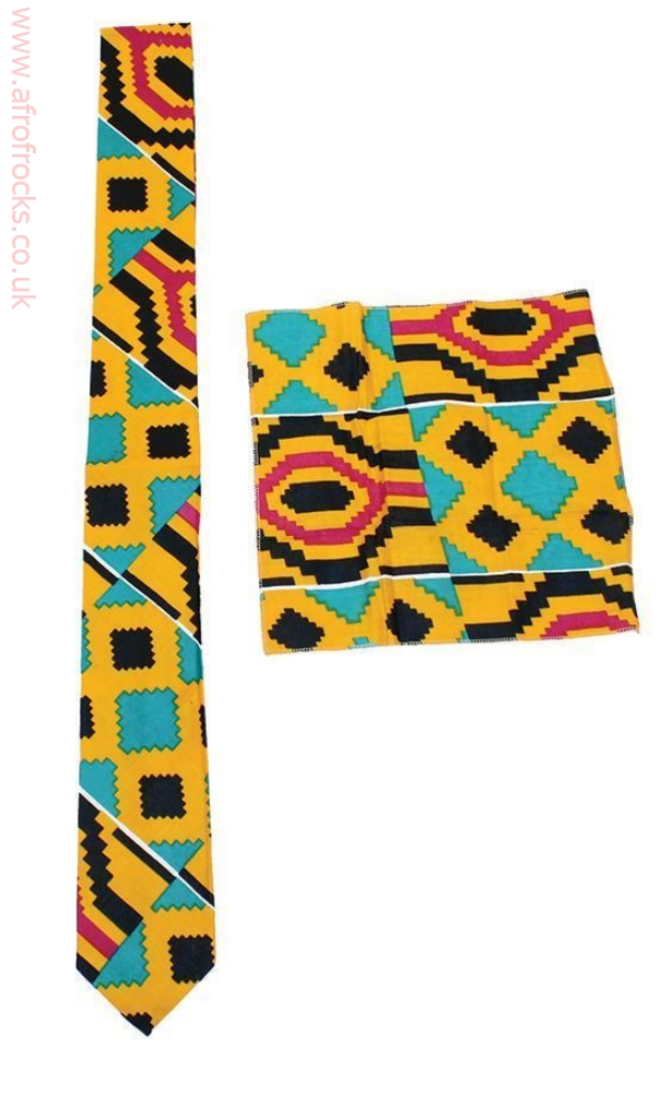 Kente necktie and hankie set