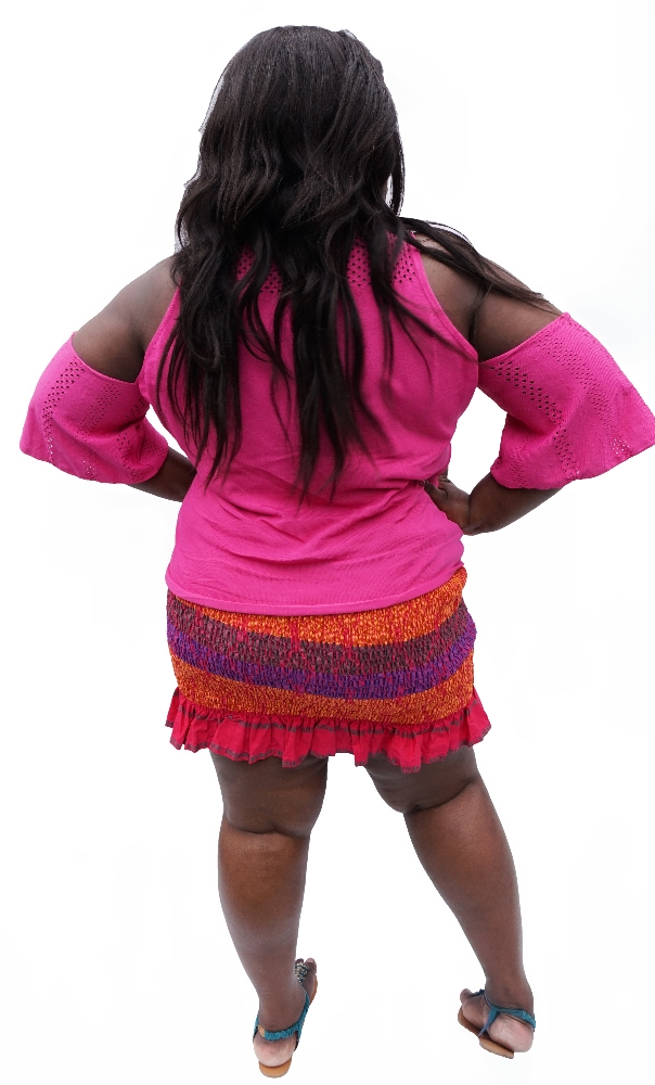 African print shirred mini skirt