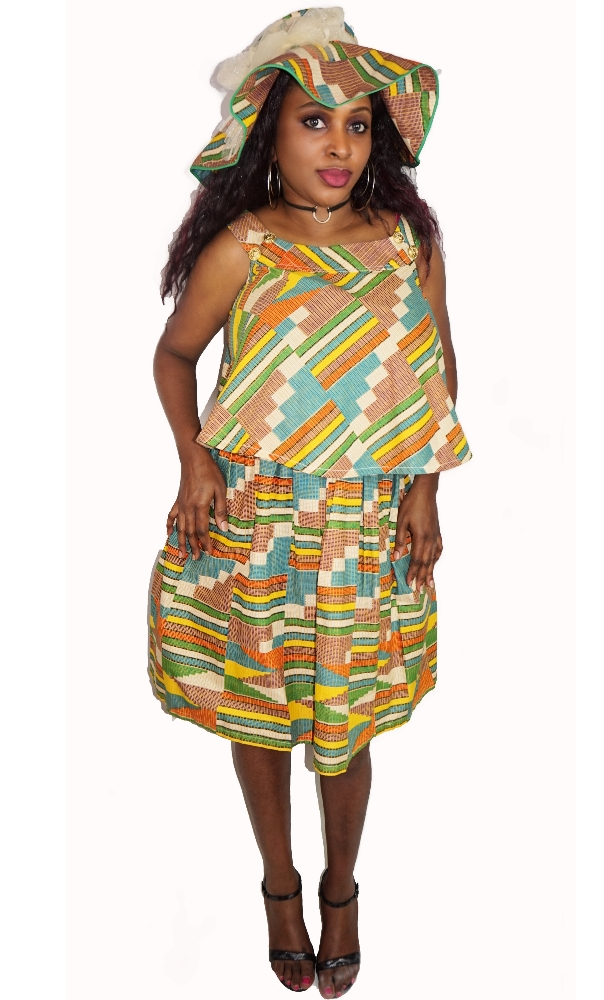 3 piece modern kente print skirt set