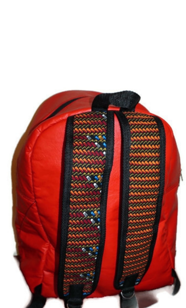 Large size black leatherette and kente print African symbol backpack