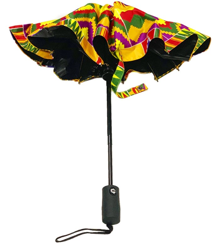 Kente print Windproof UV  Umbrella with Black Coating