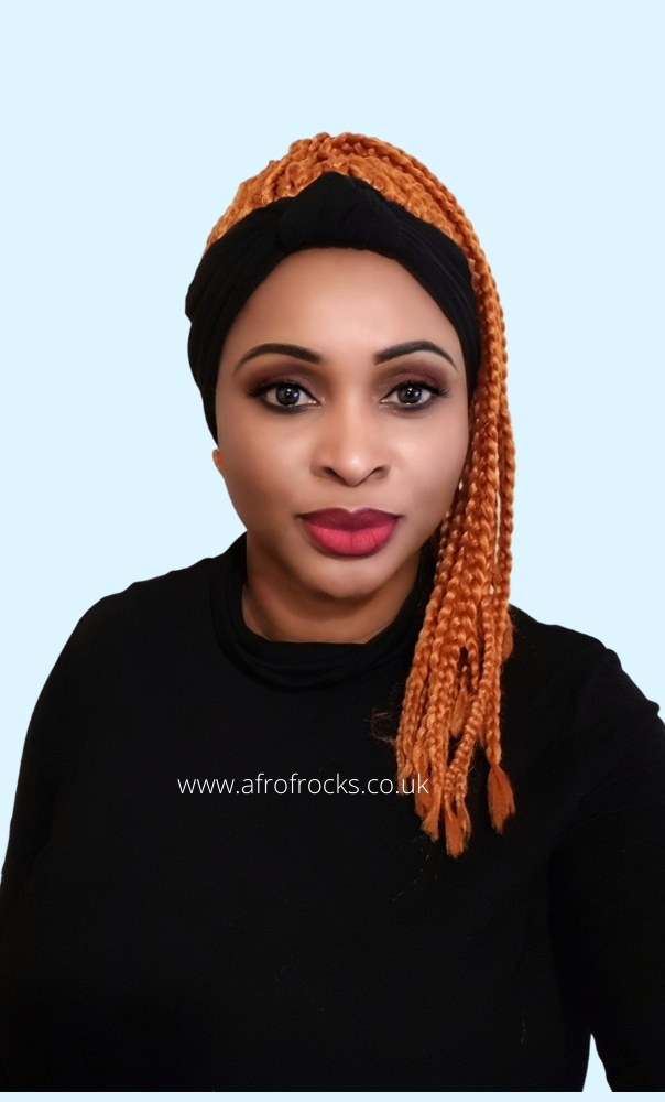 Black Headband wrap synthetic orange braided wig