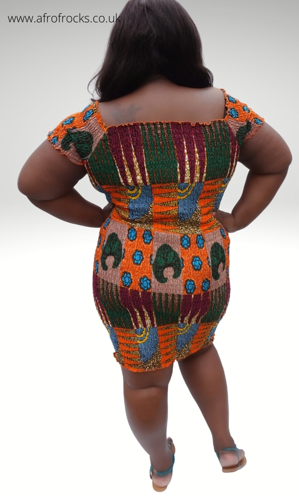 African Print Shirred Dress