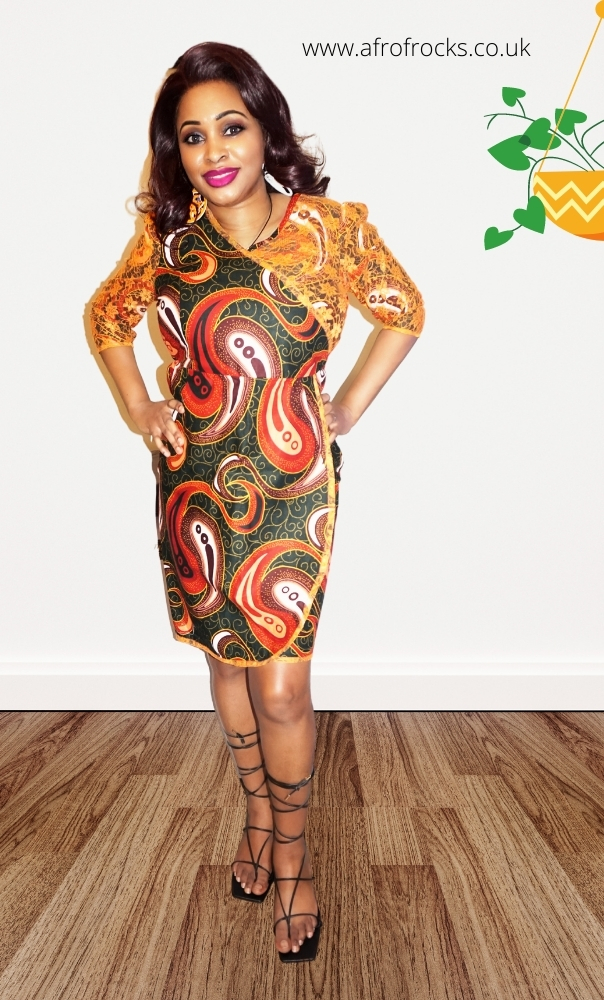 African Print and Orange Lace Combi Skirt Illusion dress