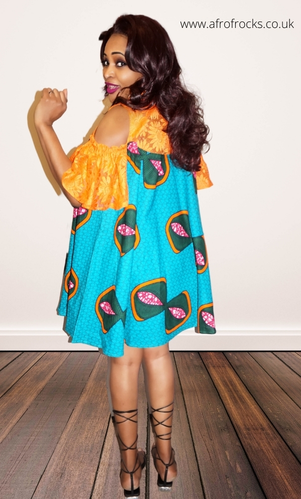 2 Piece African Bow Print Cold-Shoulder Free Dress