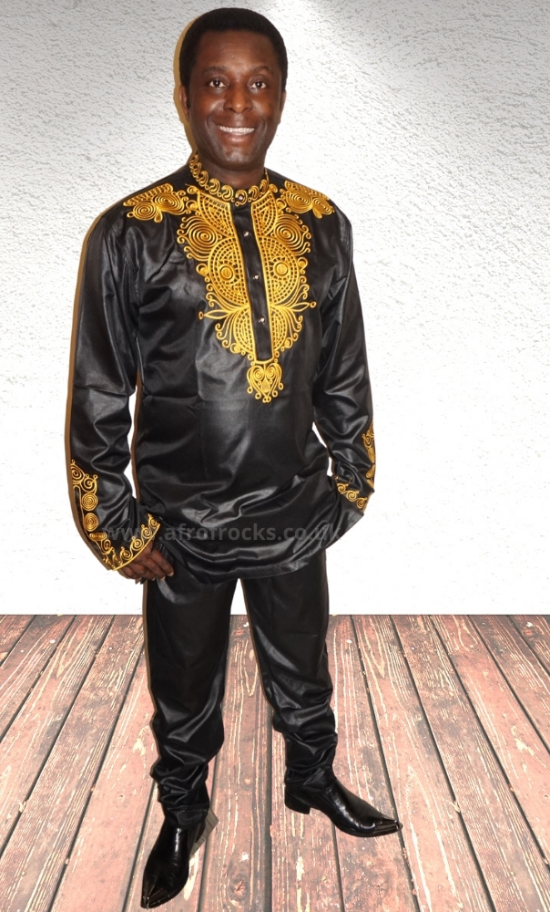 2 piece black and gold embroidered trouser set
