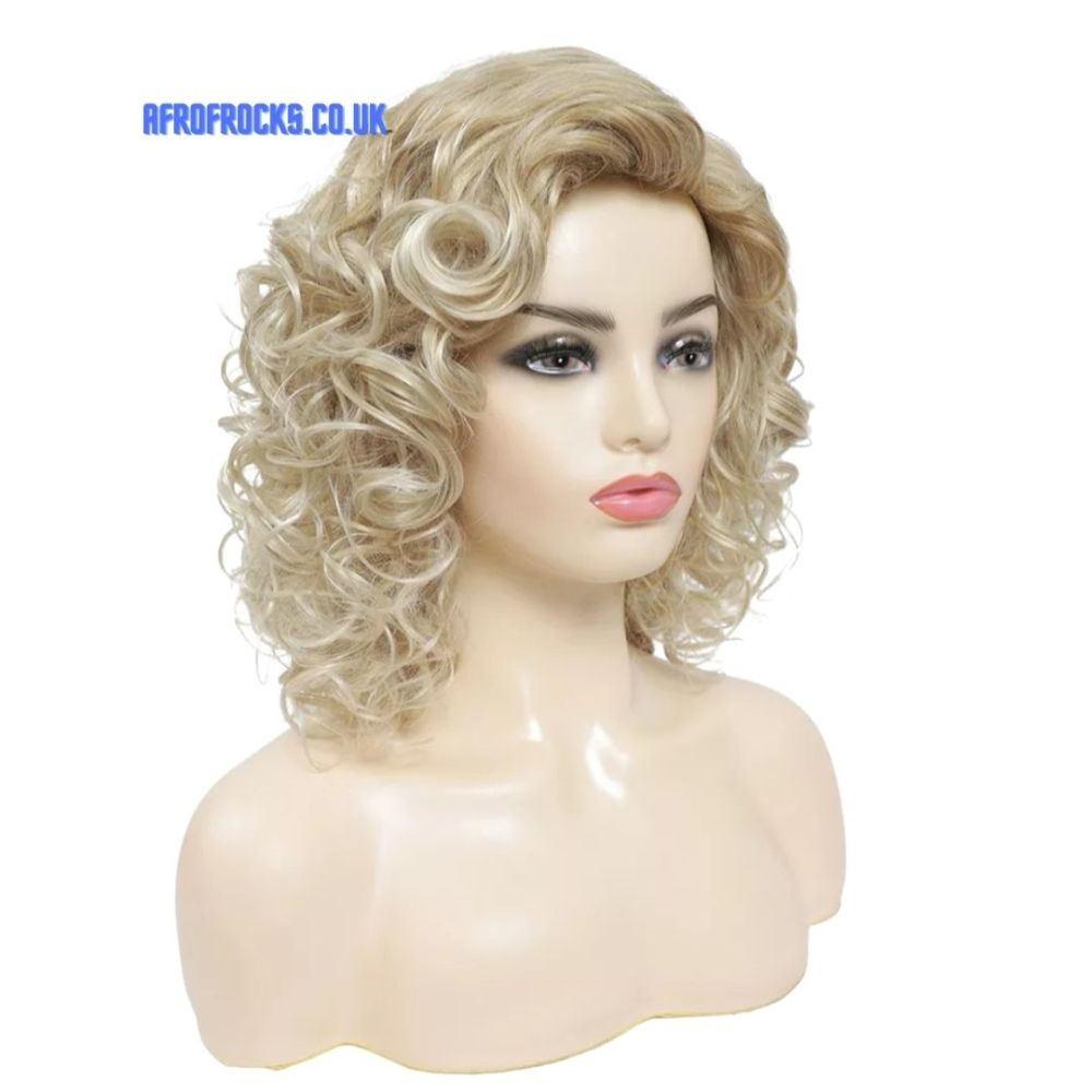 Gold Mix Blonde Short Curly Synthetic Wig
