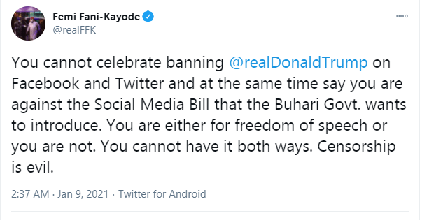 You cannot celebrate banning of President Trump  on Facebook and Twitter and at the same time say you are against Buhari