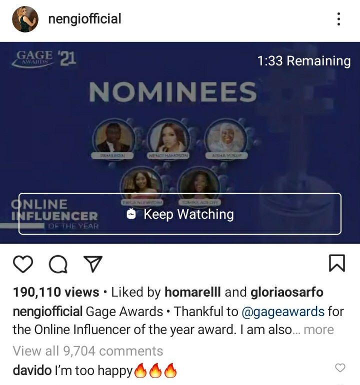 Davido's Reacts To Nengi Winning Gage's Online Influencer Of The Year