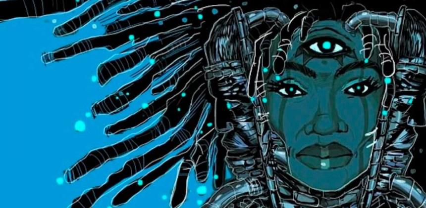 Ilustração afrofuturista de mulher negra com dreads, máscaras africanas, três olhos e dispositivos tecnológicos.