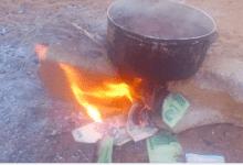 Photo of Zimbabweans Burn Worthless Zimbabwe Dollar Notes